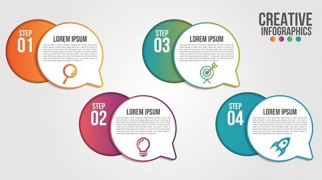 4つのステップまたはオプションのビジネスのためのインフォグラフィックモダンなタイムラインデザインテンプレート