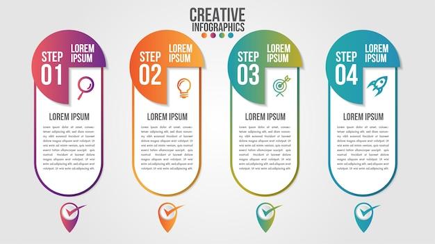 4つのステップまたはオプションを備えたビジネス用のインフォグラフィックモダンタイムラインデザインテンプレート