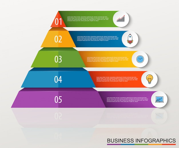 Infographic multilevel pyramid with numbers and business icons