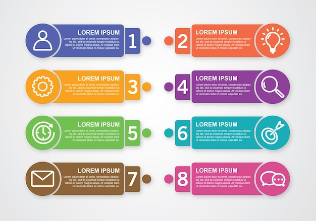 Infographic numbers with symbol and text for business options premium vector.