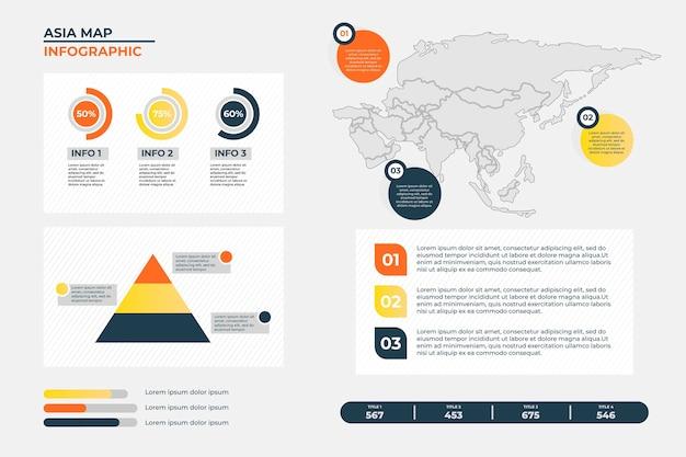 Инфографика карты азии в линейном дизайне