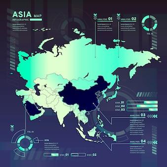 평면 디자인의 아시아 네온지도 인포 그래픽