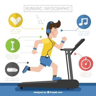 Инфографика мальчика, бегущего по бегущей дорожке