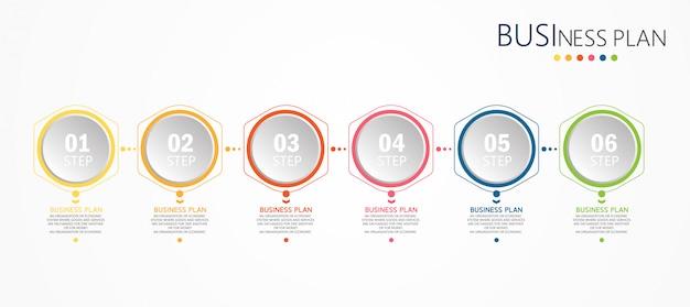 Инфографика образовательных предприятий с шестью шагами