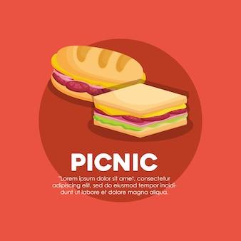 サンドイッチアイコン付きのピクニックの概念のインフォグラフィック