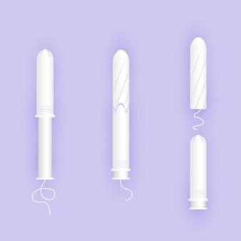 애플리케이터에 흰색 탐폰을 사용하는 인포그래픽. 여성 제품.