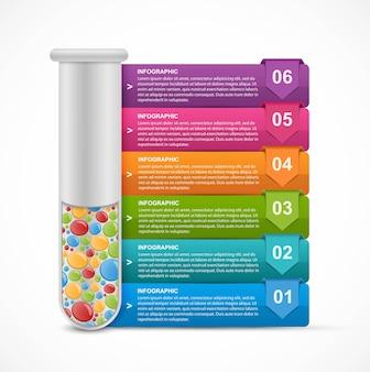 試験管の形での科学と医学に関するインフォグラフィック。デザイン要素。