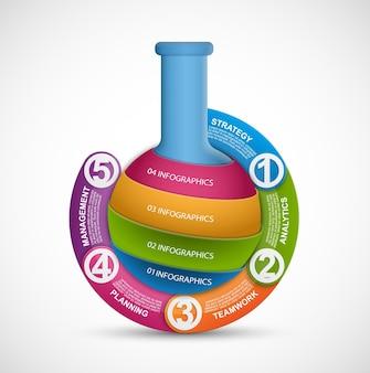 시험관의 형태로 과학과 의학에 대한 인포그래픽. 디자인 요소.