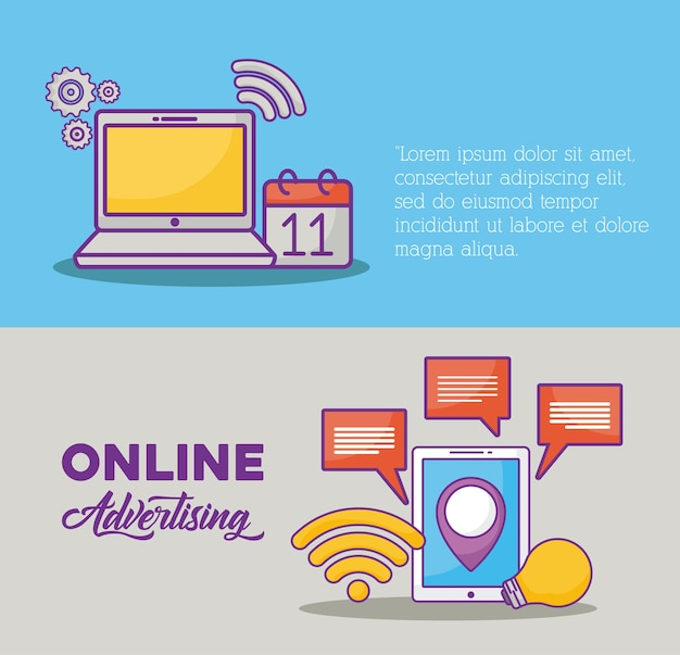 Infographic of online marketing concept
