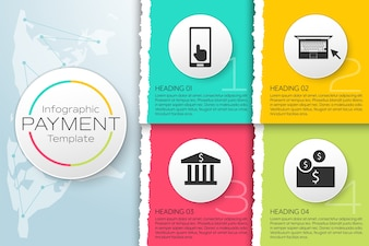 Infographic payment template with paper torn on geometric world map