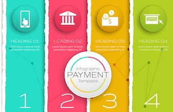 Infographic payment template with paper torn