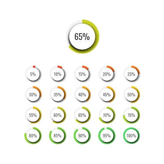 Infographic percentage set with round realistic elements on a white background. modern business vector data visualisation with textboxes.