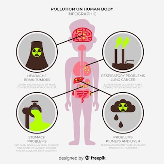 Infographic of pollution effects on human body