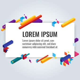 Infographic poster with written text information and title near some colorful constructions of different geometric shape vector banner