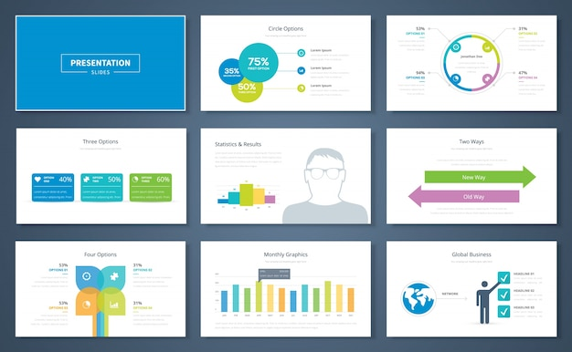 Infographic presentation elements and vector template brochures