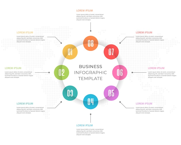Infographic presentation template 8 options.