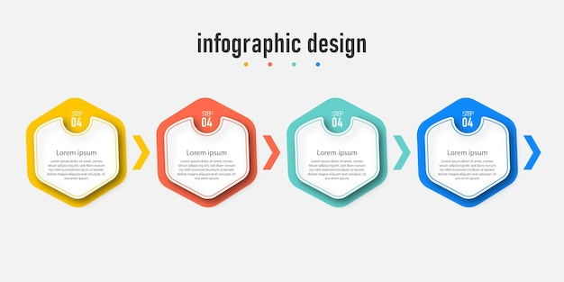 Infographic process step chart with line information concept illustration of step information
