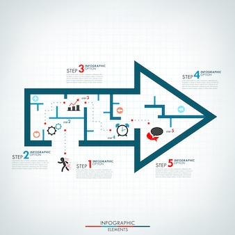 Шаблон процесса инфографики со стрелкой в стиле лабиринта