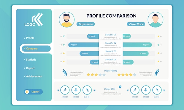Infographic of profile comparison on landing page template