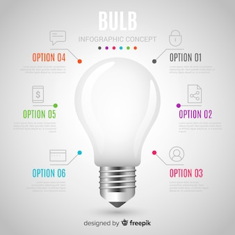 Infographic realistic light bulb background