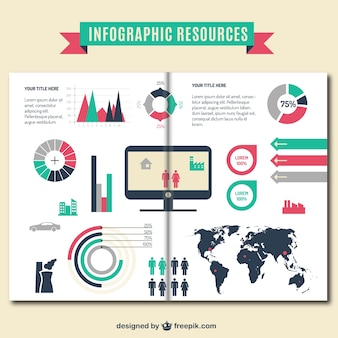 Infographic resources brochure template Free Vector
