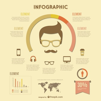 Infographic retro hipster