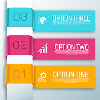 Infographic ribbon horizontal shapes with text three options
