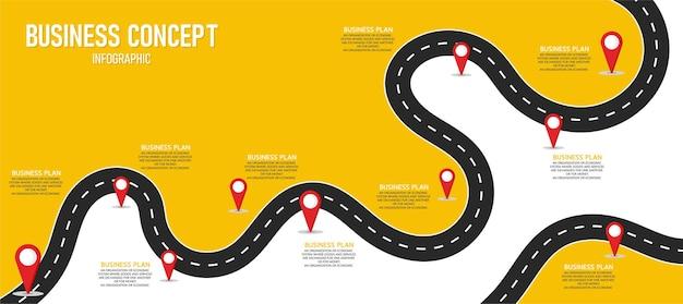 インフォグラフィック道路イラストプロセス、プレゼンテーション、レイアウト、バナーに使用できます