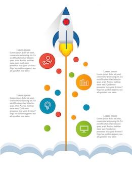 Инфографика Ракета Плоский Вектор