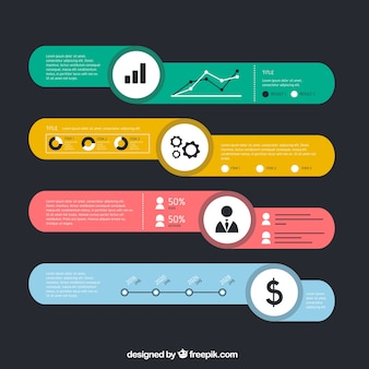 Infographic rounded banners