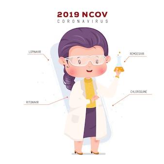Infographic scientist character illustration coronavirus