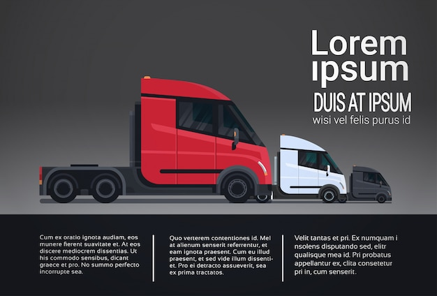 Infographic set of cargo truck trailer vehicle template elements semitrailer side view shipping