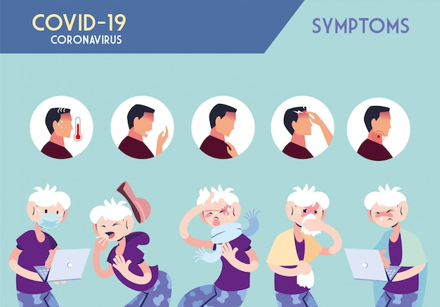 Инфографика, показывающая инкубацию и симптомы с иконами и зараженным человеком