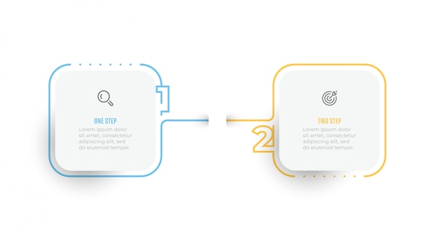 Infographic simple design number elements with thin line label. business concept with 2 options or steps.