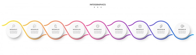 Infographic spiral design template with 9 options or steps.