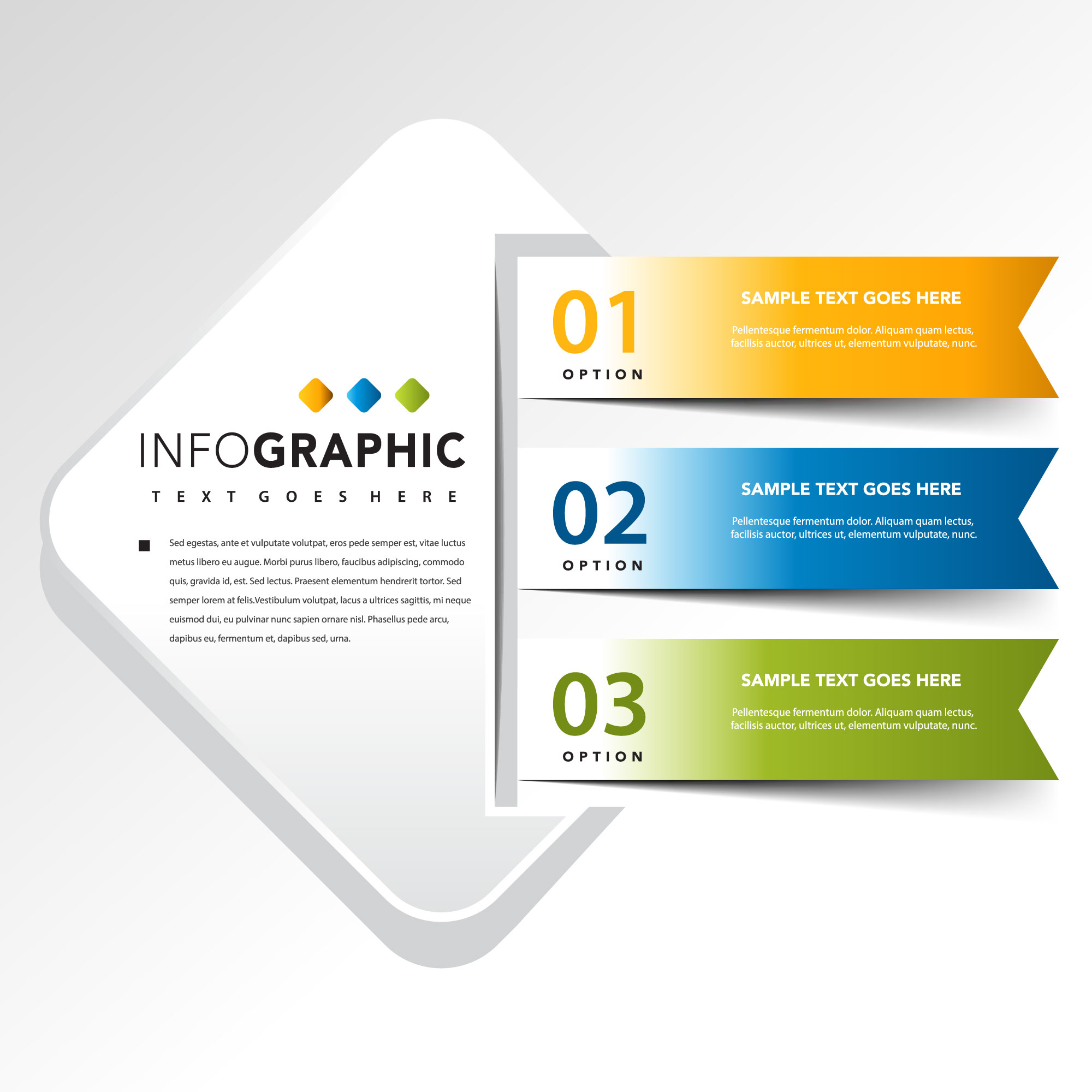 Infographic square with 3 banner vector illustration
