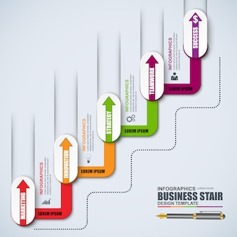 インフォグラフィック階段ステップベクトル設計テンプレート。ワークフロー、階段の成功に使用できます