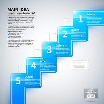 Инфографики лестница с глянцевой текстурой