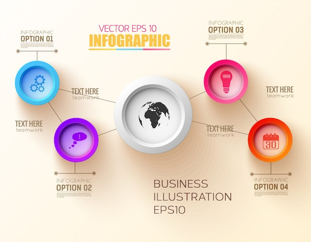 Infographic step design concept with colorful circles and business icons