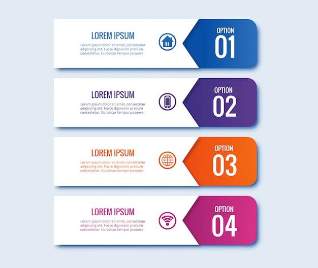 Infographic 단계 개념 크리 에이 티브 배너 디자인