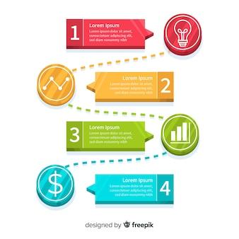 평면 스타일의 infographic 단계 개념