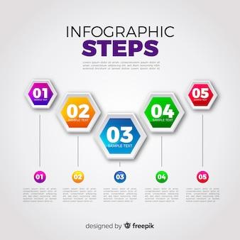 勾配効果によるインフォグラフィックスステップコンセプト