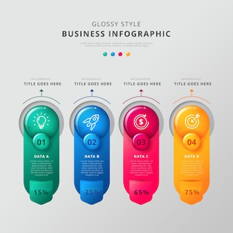 Infographic steps glossy template