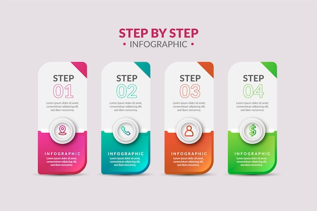 Infographic steps in gradient style