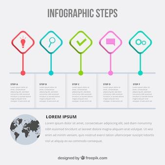 Инфографические шаги в плоском дизайне