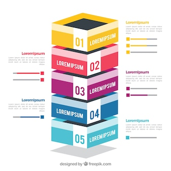 Infographic steps in isometric style