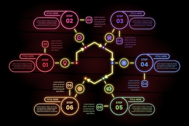 Infographic steps in neon style