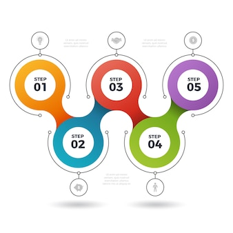 Инфографические шаги. графические шаблоны элементов информации о процессе количество стадий 3 или 5 шагов
