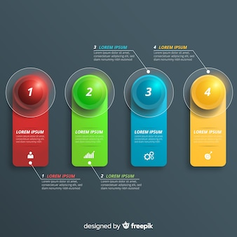 Infographic steps in realistic design