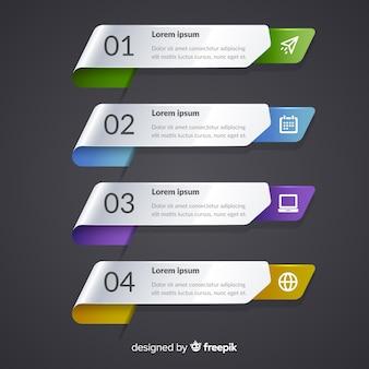 Infographic 단계 템플릿 평면 디자인